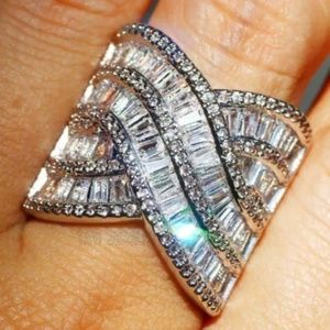 Jewelry - Wide Band 925 Sterling Silver White Sapphire Ring